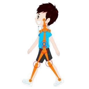flash原创动画制作视频教程/实例/侧面人物走路骨骼循环两节71分